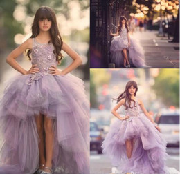 Wholesale Making Lovely - 2017 New Lovely Flower Girls Dresses Lavender Organza High Low Lace Appliques Ruffles Skirt Girls Pageant Gowns Puffy Kids Formal Wear
