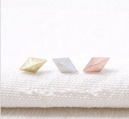 Wholesale Rhombus Earrings - 10pcs Fashion three-dimensional rhombus stud earrings wholesale free shipping