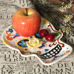 Wholesale Deco Fruits - Skull hand painting plate ceramic dish fruit plate salad plate wall decoraton home deco Halloween deco gift