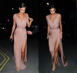 Wholesale Cameo Backing - Sexy V-Neck Celebrity Dresses 2017 Cameo Chiffon Sleeveless with Beads Zipper Back Side Split Custom Formal Evening Party Gowns
