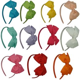 Wholesale Plastic White Hair Band - 24 pcs lot Wholesale Children Hair Accessories Boutique Hair Band With Large Stacked Hair Bow For Baby Girls