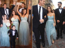 Wholesale Eva Gowns - Eva Longoria Long Turquoise Bridesmaid Dresses Sweetheart Tulle A Line Beach Bridesmaid Dress Prom Party Gowns 2017 New