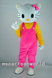 Wholesale Mascot Kitty - hello Kitty cartoon mascot costume Pink kt adult size costumes Halloween Kitty White head carnival costume party Christmas free shippin