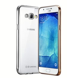 Wholesale Trim Plate - HOT TPU Plating Effect Frame Case For Samsung Galaxy A5 A7 2015 2016 J5 J7 G530 A8 A9 Gold Trim Soft Gel Back Cover