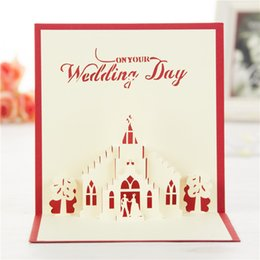 Wholesale 3d Wedding Cards Design - Church Wedding Handmade & Creative 3D Pop UP Gift & Greeting Cards With Church & Lover Design Free Shipping