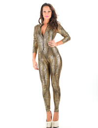 Wholesale gold catsuit front - Sexy Snakeskin Catsuit Lingerie Black Gray Gold Faux Leather Long Jumpsuit Front Zipper Bodysuit Pole Dance Costume for Women W7980