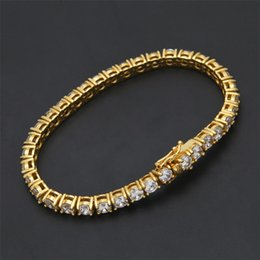 Wholesale Hip Mens Bracelets - Mens Zircon Tennis Chain Bracelet Gold Silver Color Copper Material Iced Out 1 Row CZ Chain Hip hop Bracelet 3mm 4mm 5mm