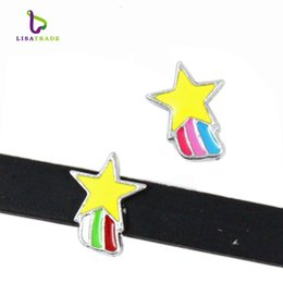 """Wholesale Diy 8mm Star Slide Charms - 10PCS! 8MM """"Moon & Star"""" Slide Charm DIY accessory Fit 8mm Wristband & Belt  Pet Collar (2 styles can choose) LSSC140-146*10"""