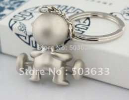 Wholesale Dog Key - Creative Funny Gift, Mr.P Boy Weightlifting Keychain Keyring Key Chain Ring Key Fob Holder 85506 chain dog