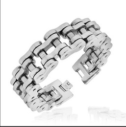 Wholesale Mens Motorcycle Bracelets - 20mm Heavy Gothic Motorcycle Biker Chain Stainless Steel For Cool Mens Bracelet