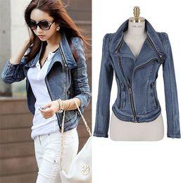 Wholesale Blue Jean Jacket Woman - Womens Denim Jacket New 2016 Fashion Women Jean Jacket Denim Ladies Casual Blue Lovely Jean Denim Jacket Coat Size S   M  L