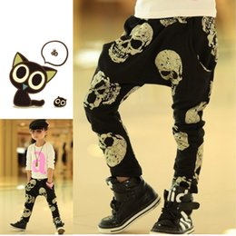 Wholesale Baby Boy Harem Skull Pants - Baby Christmas Outifts Infant Toddlers Long pants baby new style cortoon printed pants Children autumn Golden skull print casual Haren pants