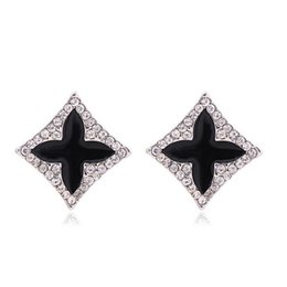 Wholesale Clover Earrings Black - New Fashion Womens Jewelry 18K White Gold Plated Black Oil Drip Clear Crystal Four Clover Stud Earrings