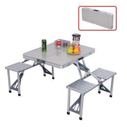 Mesas de camping online-COSTWAY Jardín al aire libre de aluminio portátil que acampa mesa de picnic con asientos W / 4