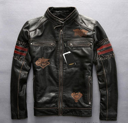 Wholesale avirex jackets - 1973 Avirex fly men leather jackets american customs hand made Embroidery vintage motorcycle leather jacket