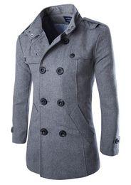 Wholesale Duffle Trench - Mens Overcoat Winter Mens Coats Duffle Coat Stylish British Stylesingle Breasted Wool Trench Coat