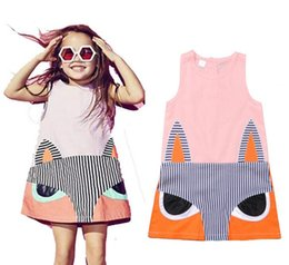 Wholesale Korean Casual Formal Dressing - 2016 New girls dresses Cartoon fox Sleeveless Princess Dress Spring summer Kids Party Dresses Fashion korean children clothing