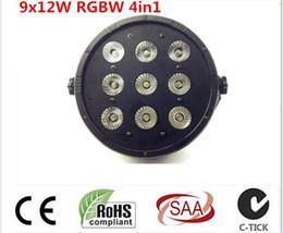 Wholesale Rgbw Led Flat Par - CREE LED Par 9x12W RGBW 4IN1 LED Luxury DMX 4 8 Channels Led Flat Par Can Professional DMX Disco DJ Stage Effect Lights
