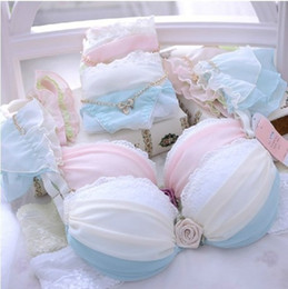 Wholesale Japanese Lolita - Wholesale-New arrival Japanese ladies underwear sexy lingeries wide straps Kingdee accessories side income adjustment push-up bra set