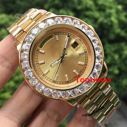 Wholesale Men S Red Wristwatch - Yellow Gold Big Diamonds Luxury Mens Brand Watch Day-Date Stainless Steel President Automatic Wristwatch Red Men;s Business Reloj Watches