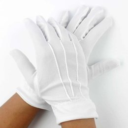 Wholesale Snap Gloves - 20pcs=10Pair Womens Men White Parade Formal Gloves with Snap Wrist Closure Ceremonial White Dress Gloves Services White Gloves