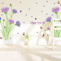 Cheap Purple Home Furnishings Home Furnishings Romantic Wedding Room Bedroom Wall Stickers Purple Carnations Entrance