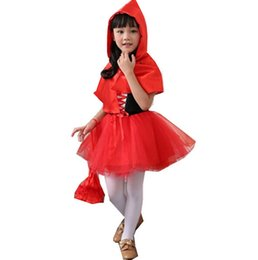Wholesale Hood Lining - little red riding hood kids princess dress kids halloween fancy dress costume cosplay costume child free shipping in stock