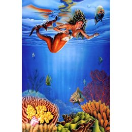 Wholesale Craft Coral - Mermaid Coral Fish Full Drill DIY Mosaic Needlework Diamond Painting Embroidery Cross Stitch Craft Kit Wall Home Hanging Decor