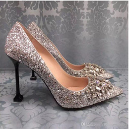 Wholesale High Heels Evening Shoes - 2017 new arrival silver sequin wedding shoes with crystals beaded high heel bridal evening party prom shoes