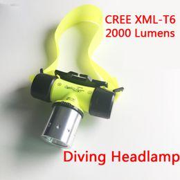 Wholesale Underwater Torch - Sanyi Underwater 2000 Lumen CREE XML T6 Headlamp LED Waterproof 20M Swimming Diving Headlight Dive Scuba Head Light Torch Lamp