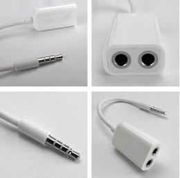Wholesale Music Splitter - 10Pcs Lot 3.5mm 1 to 2 Stereo Audio Headphone Headset Earphones Splitter Adapter Converter Connector Music Sharing Device