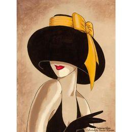 Óleo lona pinturas mulheres on-line-Arte decorativa mulher em pinturas abstratas chapéu amarelo preto óleo sobre tela para decoração de parede pintados à mão