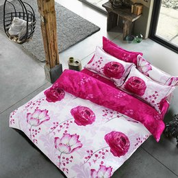 Wholesale Comforter Lotus - Beauty lotus cotton queen king bedding bedclothes with reversible duvet quilt cover flat sheet pillow shams 4 5pc comforter sets