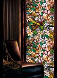 Wholesale Magnolia Wall - Magnolia printing Mei Tin States window stickers pastoral style Stained glass stickers bathroom window paper new 2016 European and American