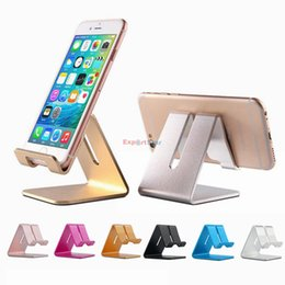 Wholesale Tablet Stands Retail - Universal Aluminum Metal Mobile Phone Tablet Holder Desk Stand for iPhone X Plus Samsung s8 plus ZTE Max XL with Retail package