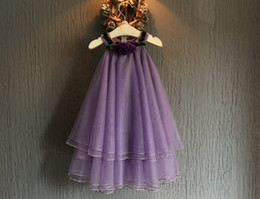 Wholesale High Fashion Clothing Brands - High Grade Girls Lace Dress Childrens Fashion Clothing Girls Pretty Lace Flower Princess Dress Sleeve-less Dress