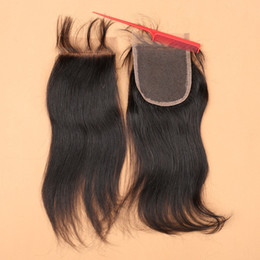 Wholesale Cheap Human Lace Front Closure - Top 7a 4x4 Front Lace Closure Bleached Knots Cheap Three Middle Free 3 Part Straight Closures Peruvian Virgin Human Hair Closure