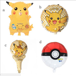Wholesale Inflatable Halloween - Pika 5 styles poke Foil Balloons Inflatable Helium Children classic toys happy Birthday balloons Christmas Xmas Halloween Party Supplies