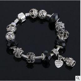 Wholesale Sterling Silver Bead Strands - Hot 2016 Wonderful Tibetan silver Pan box bead series DIY greased full diamond bracelet big hole diamond bracelet European charm brac