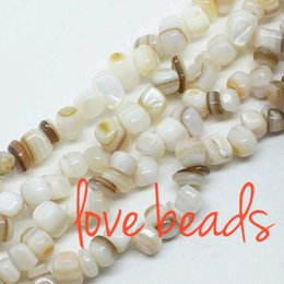 pink shell bracelet Promo Codes - Irregular Square Natural Creamy White Shell Beads 5mm-8mm Gravel Loose Beads Strand 80cm For wholesale DIY Bracelet(F00341) wholesale
