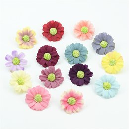 Wholesale Artificial Sun Flowers - 100PCS High Quality DIY Artificial Silk Sun Flower Head For Home Wedding Party Decoration Wreath Scrapbooking Fake Flowers