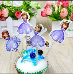 Wholesale First Birthday Supplies - Wholesale- 24pcs Sophia the first princess cake toppers picks for kids birthday favors party decorations supplies festa baby shower AW-0410