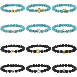 Wholesale Turquoise Skull Ring - 2016 Lion Head Bracelet Skull turquoise Buddha beads Bracelets Bangles Charm Natural Stone Bracelet yoga Jewelry Men Women