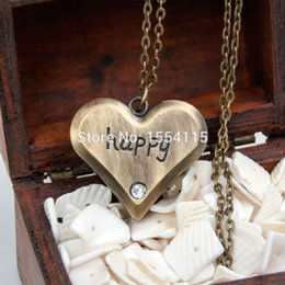 Wholesale Vintage Heart Shaped Pocket Watches - Fashion Bronze Happy Heart Shaped Pocket Watch Necklace Vintage Jewelry wholesale Sweater Chain Fashion Gift watch Promotion