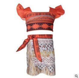 Wholesale Cute Skirts For Summer - MOANA Girls Dresses Two-piece Set Cartoon Princess Dress for Girls Clothing Children Cute Scallop Fly Sleeves Girl Kids Dress Skirts 954