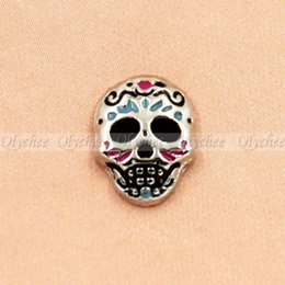 Wholesale Sugar Skull Charms - Wholesale-1X Sugar Skull Floating Charms For Glass Living Memory Lockets Free Shipping