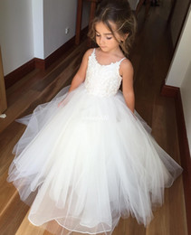 Wholesale Baby Party First - White Ball Gown Tulle Flower Girl Dresses for Vintage Wedding Spaghetti Straps Lace Long 2016 Cheap Baby Kids First Communion Party Dresses