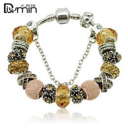 Wholesale Porcelain Animal Beads - 2016 Pandora Charms Fashion Yellow 925 Sterling Silver Daisies Murano Glass & Crystal Fits Charm bracelets Women Jewelry