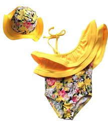 Wholesale Cap Suit Girl - 2016 Summer New Girl Swimwear Yellow Floral Inclined Shoulder Fashion One Piece Swimming Suit With Cap 2-7T 9021