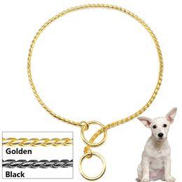 Wholesale Collar Chrome - 50 pcs  Lot Snake Chain Dog Training Collar Pet Show Collar Heavy Duty Metal Chain P Choke Collars Strong Chrome Golden Black 3mm 4mm 5mm